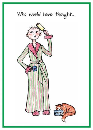 Balding woman in bathrobe, holding a lint roller