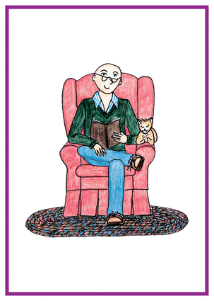 Bald man sitting in easy chair, reading a book