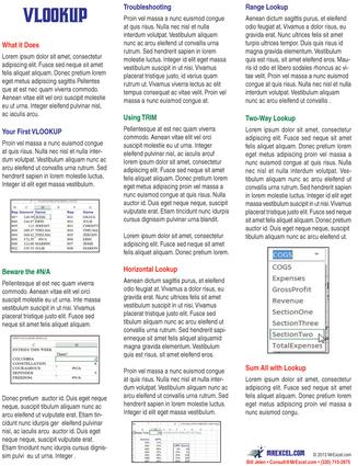 Excel VLOOKUP Laminated Tip Card