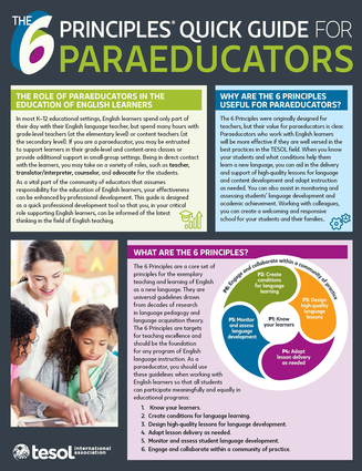The 6 Principles® Quick Guide for Paraeducators