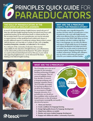 The 6 Principles® Quick Guide for Paraeducators: Pack of 5