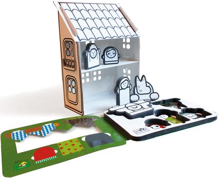 casita de carton para pintar con personajes