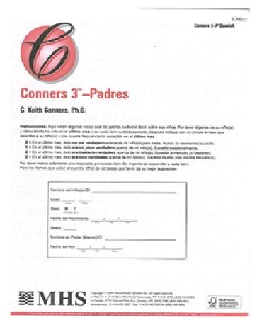 Conners 3-P QuikScore Spanish (25/pkg)