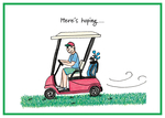 Man zipping along in golf cart