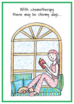Woman sitting on window seat, reading a book as rain falls outside