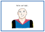Bald man wearing superhero cape, a wry smile on his face